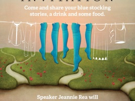 Banner - BLUE STOCKING INVITATION. Stories. Drinks. Food. Tues 13th Aug from 6pm-8pm.