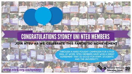 Congratulations to Sydney Uni NTEU members