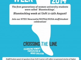 Banner - Uni of Newcastle staff/student event to celebrate Bluestocking Week 2014!