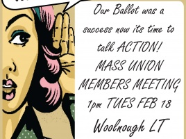 Banner - Mass Meeting for Industrial Action Tues Feb 18 1pm!